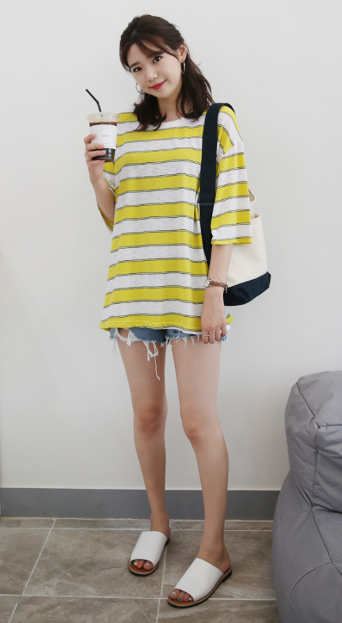 Contrast Stripe Loose Fit T-Shirt