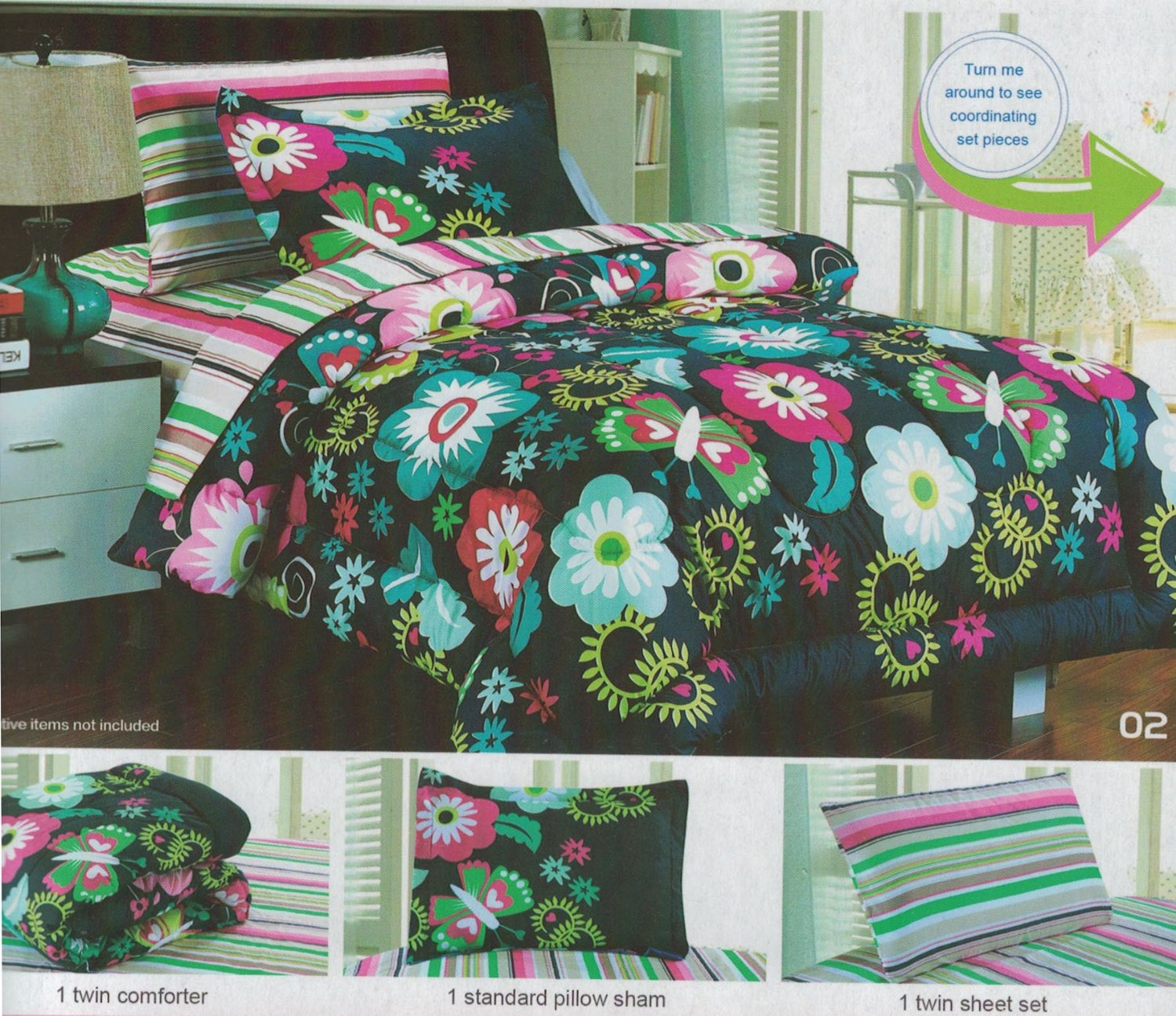 printed set amazon dp bedding com full home fco garden bfly cotton comforter piece lullaby kitchen butterfly
