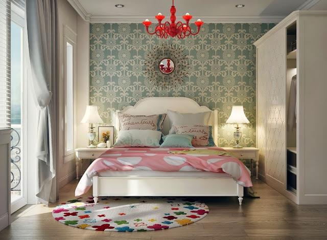A beautiful semi-classic mix between wallpaper and room furniture