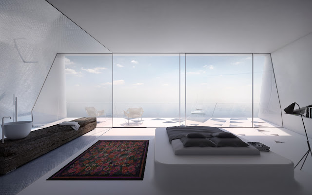 Bedroom with the glass wall and ocean view