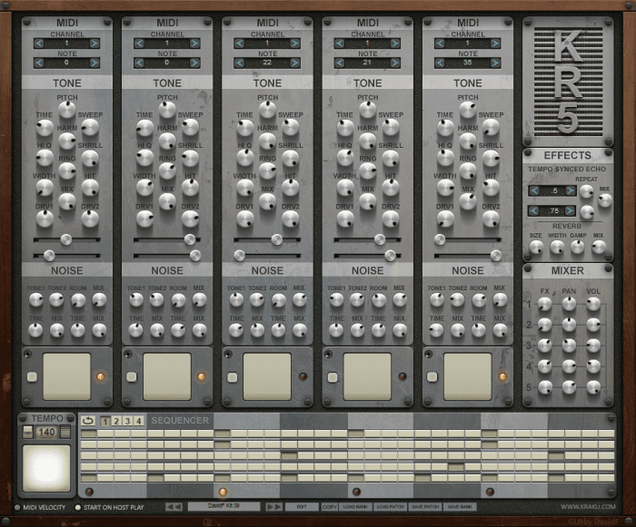 krakli plugins releases kr5 free drum machine vst plugin synth anatomy. Black Bedroom Furniture Sets. Home Design Ideas