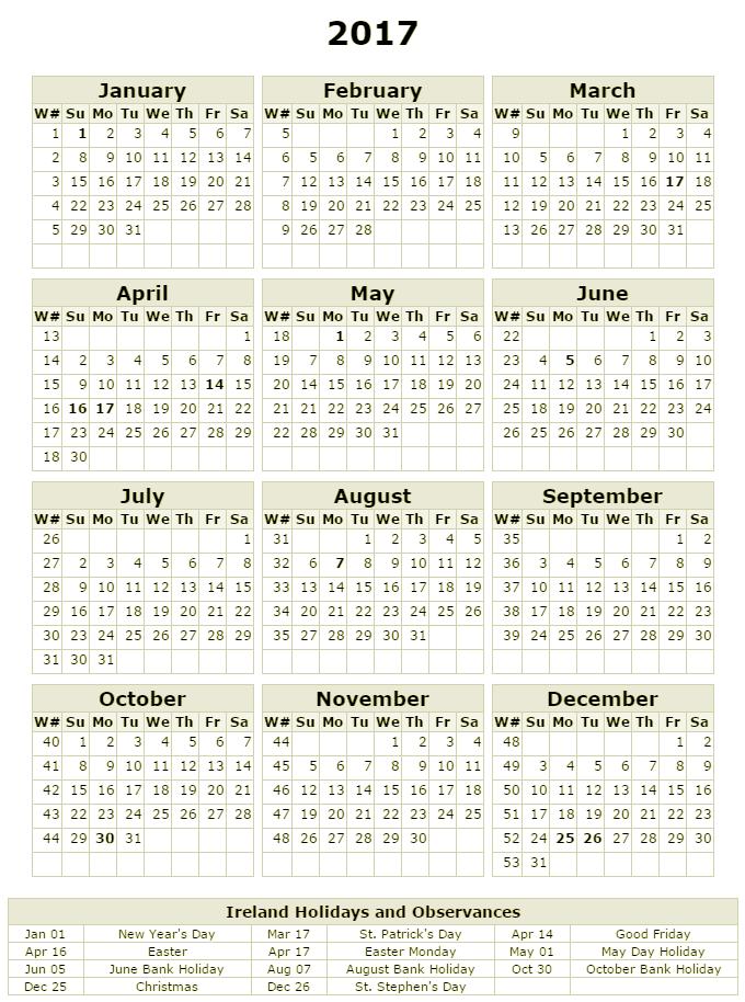 Calendar Ireland : Bank holidays and ireland lifehacked st