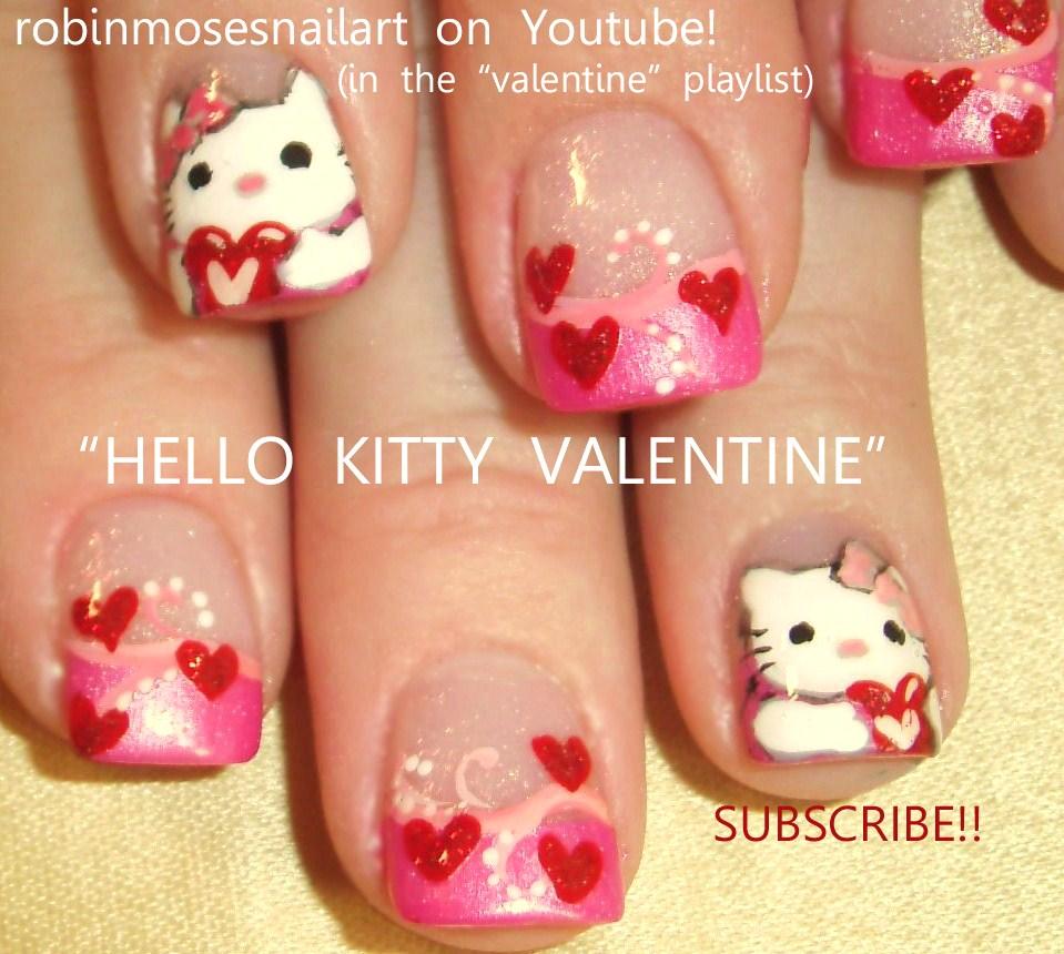 Nail Art By Robin Moses Hello Kitty Valentine Heart Nails Pink