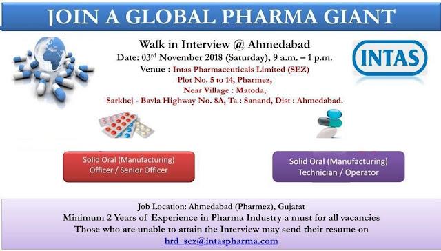Intas Pharma Walk In Interview  at 3 November