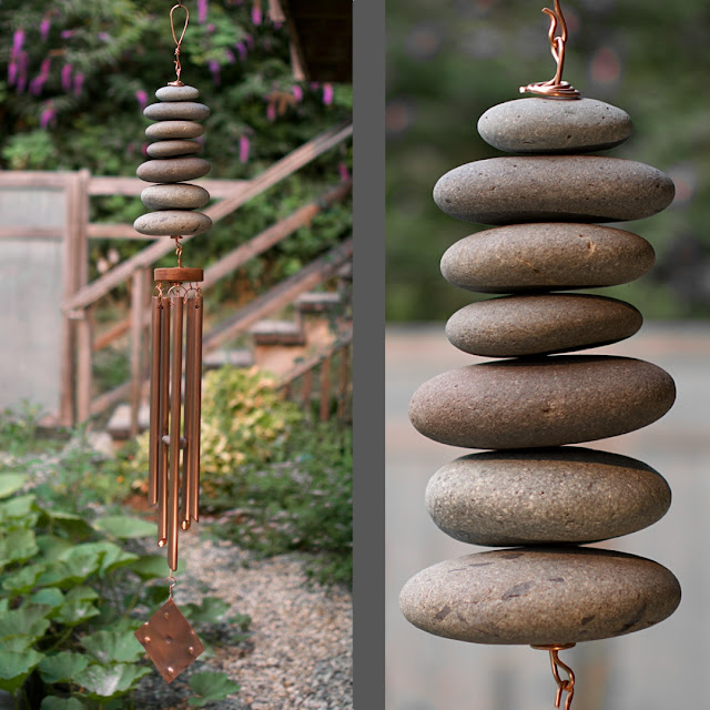 Natural Pacific beach stone wind chime with five copper chimes: Coast Chimes