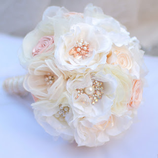 Romantic and Sweet Coral Silk Bridal Bouquet