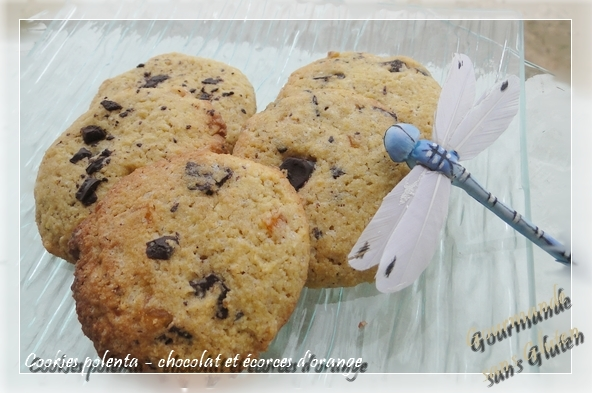 Cookies polenta, chocolat et écorces d'oranges