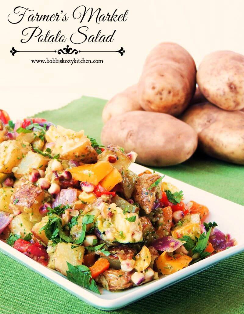 Celebrate veggies with this Farmer's Market Potato Salad recipe. Sweet roasted veggies mixed together with tender potatoes, and ZERO mayo! #vegetarian #dairyfree #potato #salad #recipe | bobbiskozykitchen.com