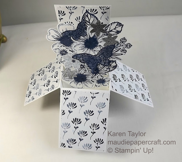 Stampin' Up! Floral Boutique DSP box card with Night of Navy