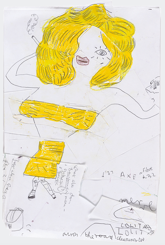 drawing Rose Wylie  Yellow Lolita with Flick-book Skirt, 2018