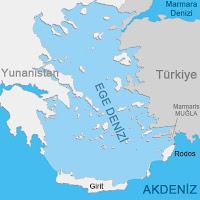 Akdeniz ve Ege Denizi sınır ayrımının harita üzerinde gösterimi