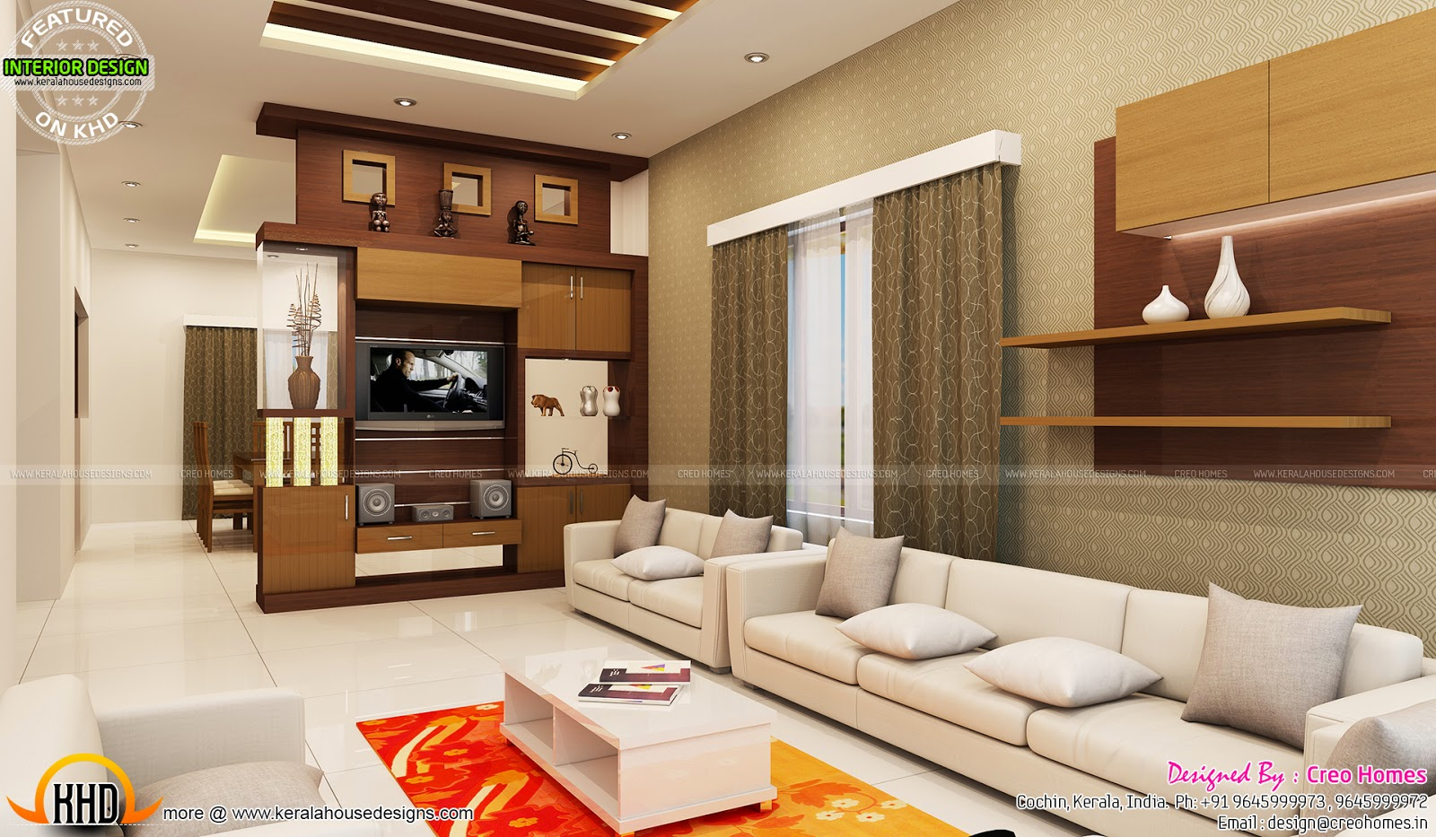 Living, prayer, kitchen interiors - Kerala home design and