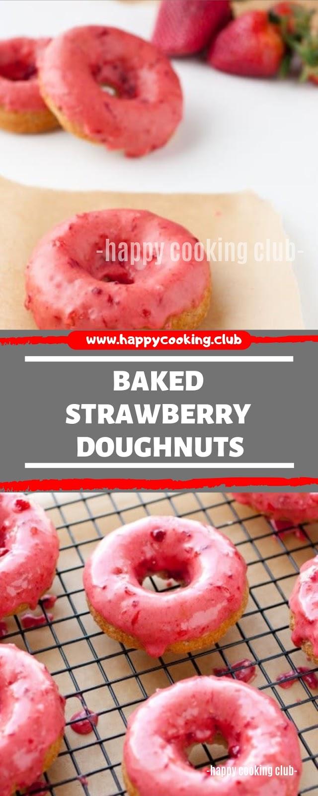Baked Strawberry Doughnuts
