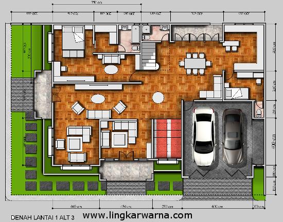 Denah rumah minimalis dua lantai hook dengan Luas Lahan 330 meter2