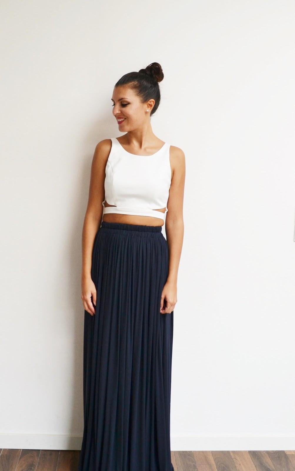 jupe longue bleu marine taille haute pliss e fluide style. Black Bedroom Furniture Sets. Home Design Ideas