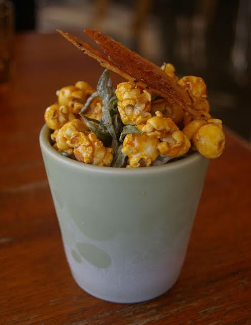 nitrogen popcorn with maple syrup and bacon and saltbrush;  east;  mt martha