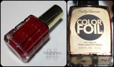 L'Oreal 'Rubis Folies', and Sally Hansen 'Liquid Gold'