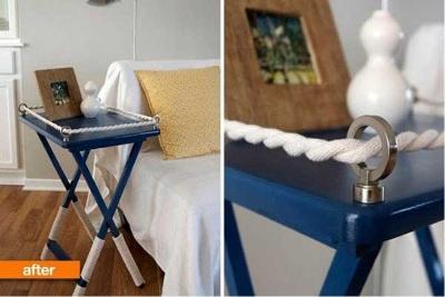 Tali rami menjadi aksen untuk meja