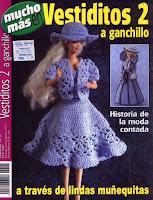 vestido, bolero e chapéu de crochê para Barbie
