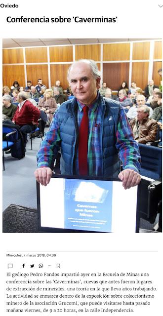 Noticia en el Comercio digital sobre la conferencia de Pedro Fandos y las Caverminas