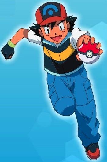 Dibujo de Ash con su pokebola de Pokémon