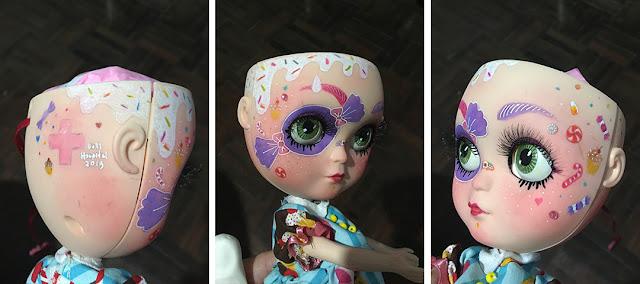 Detalhe da pintura custom da boneca: açúcar derretido, doces, granulado e sobrancelhas coloridas