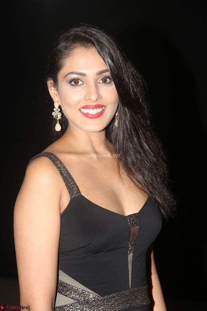 Madhu Shalini in a Glamorous Deep neck Black Sleeveless Dress at Mirchi Music Awards South 2017 ~  Exclusive Celebrities Galleries 001.JPG