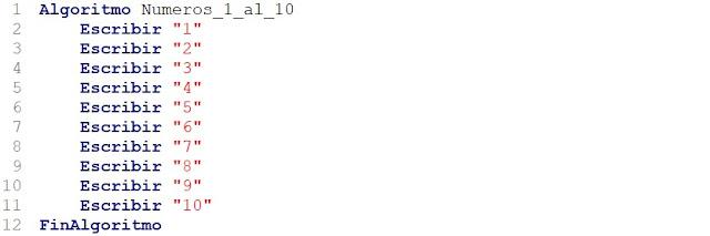 Algoritmo que muestre los números del 1 al 10