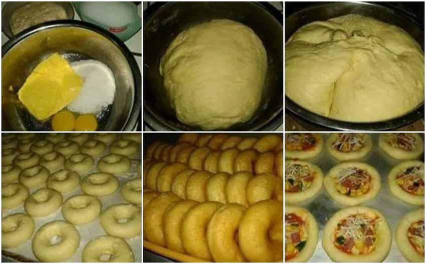 Wowww Satu Adonan Bisa Buat 3 Macam Kue Bund. Donut, Mini Pizza dan Roti Isi