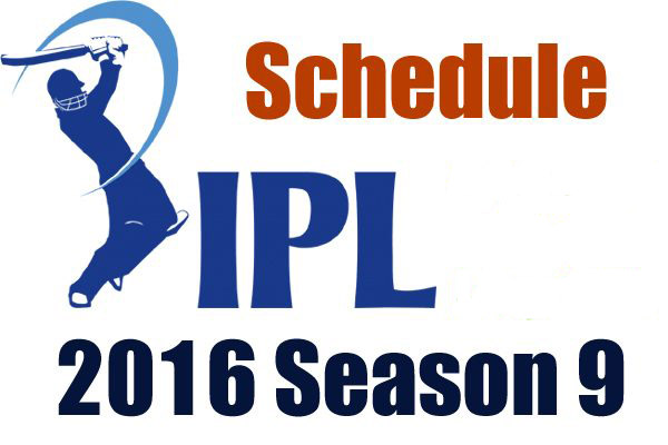 IPL T20 Cricket Schedule 2016