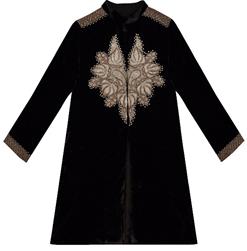 Dark Chocolate Velvet-Silk Antique Tilla Kashmiri Kashida Jacket