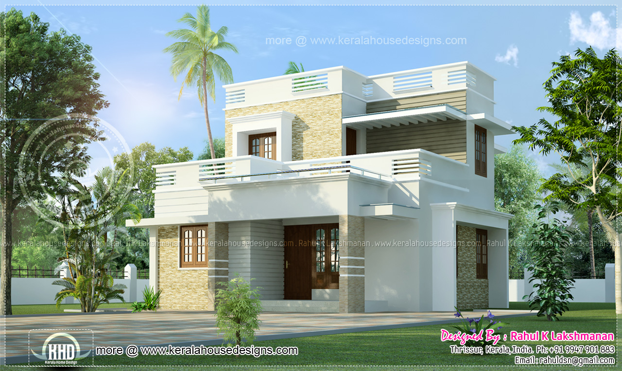 Small 2 storey villain 1280 sq ft kerala home design and for Indian small house design 2 bedroom
