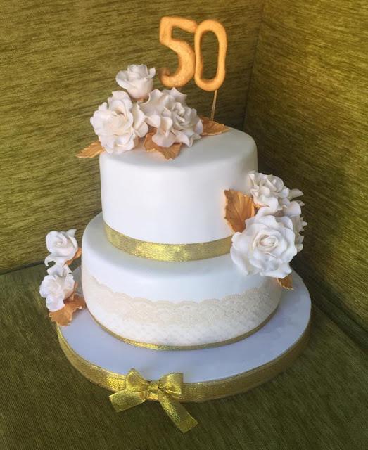 tarta bodas de oro tarta flores azucar fondant Gandia Ontinyent Xativa Alcoy