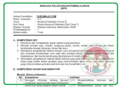 RPP Kelas 3 Tema 3 Kurikulum 2013 Revisi 2018