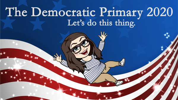 image of a cartoon version of me sliding across a patriotic stars-and-stripes graphic, to which I've added text reading: 'The Democratic Primary 2020: Let's do this thing.'