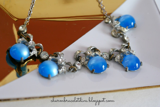vintage sapphire and rhinestone necklace