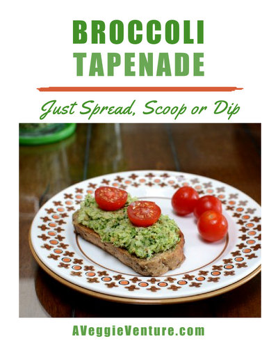 Broccoli Tapenade, another versatile vegetable spread ♥ AVeggieVenture.com. Great for Meal Prep. Weight Watchers Friendly. Gluten Free.