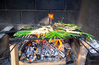 Calçots on a grill