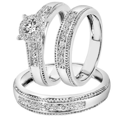 Cheap Trio Wedding Ring Sets