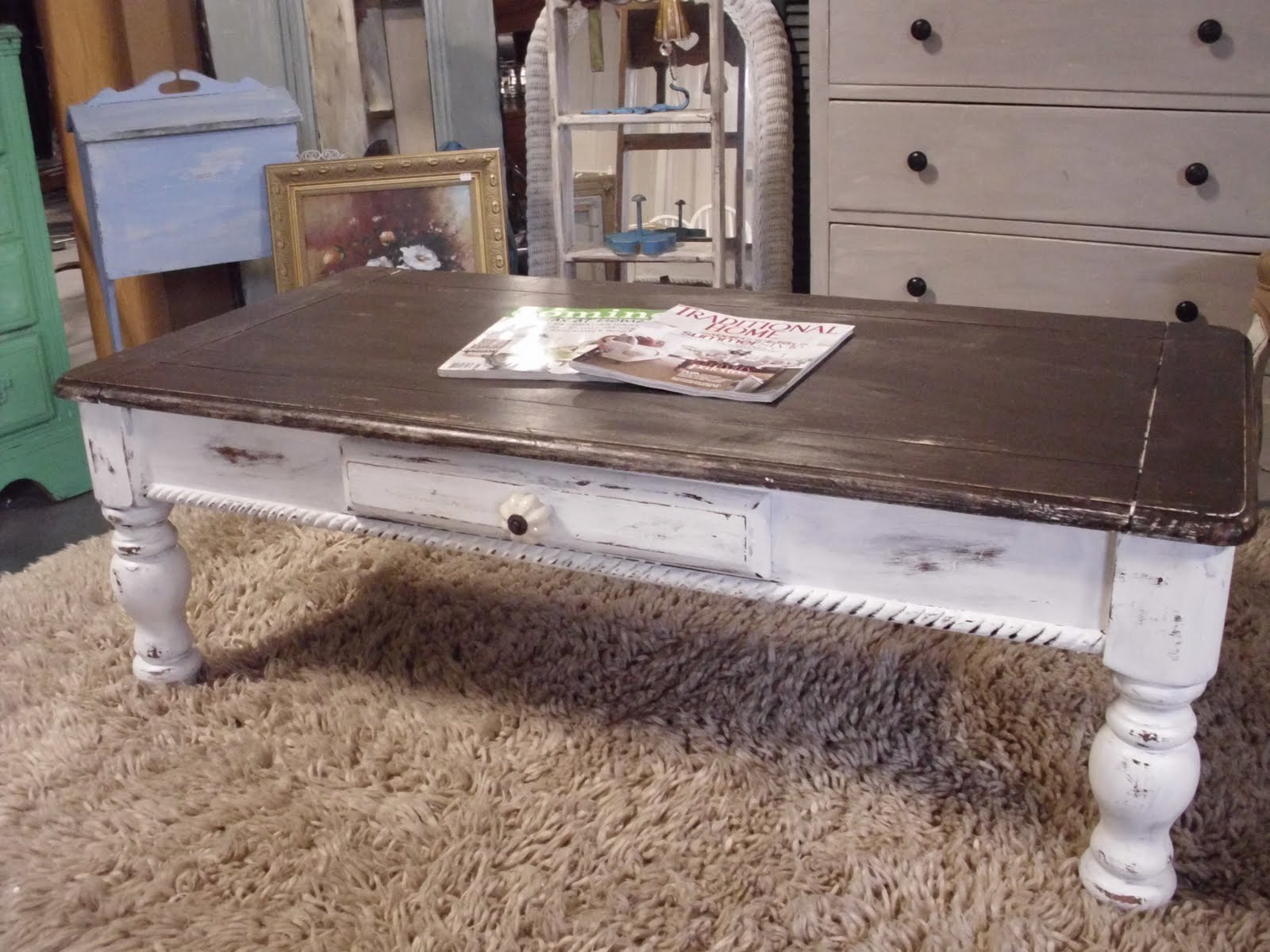 Unusual Coffee Tables The French Flea Distressed Coffee Table