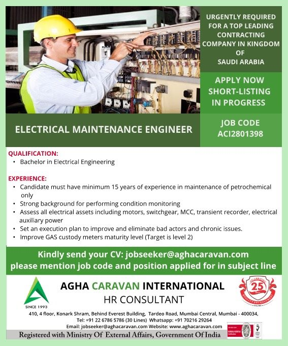 Electrical Maintenance Engineer for Saudi Arabia
