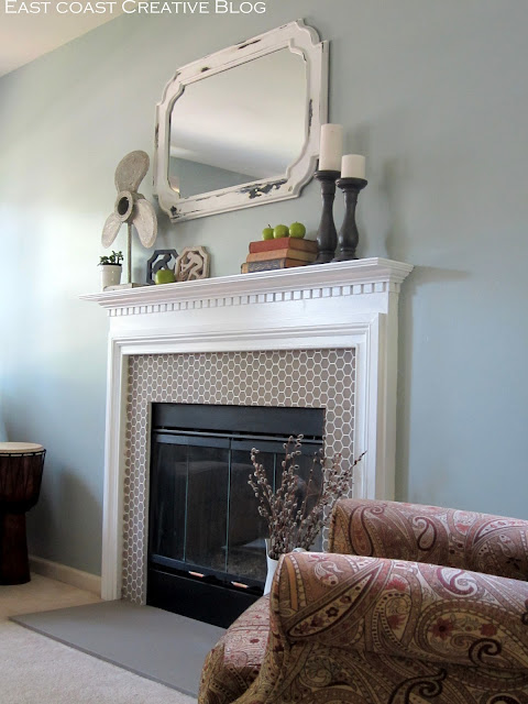 stenciled and painted fireplace