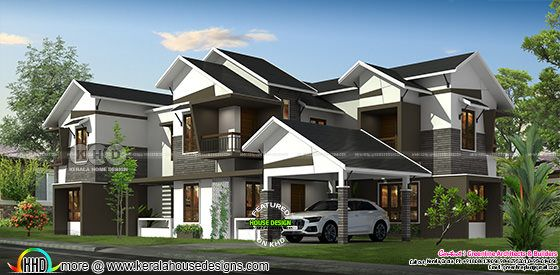 Front elevation rendering of slanting roof house