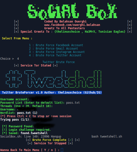 SocialBox - A Bruteforce Attack Framework (Facebook, Gmail