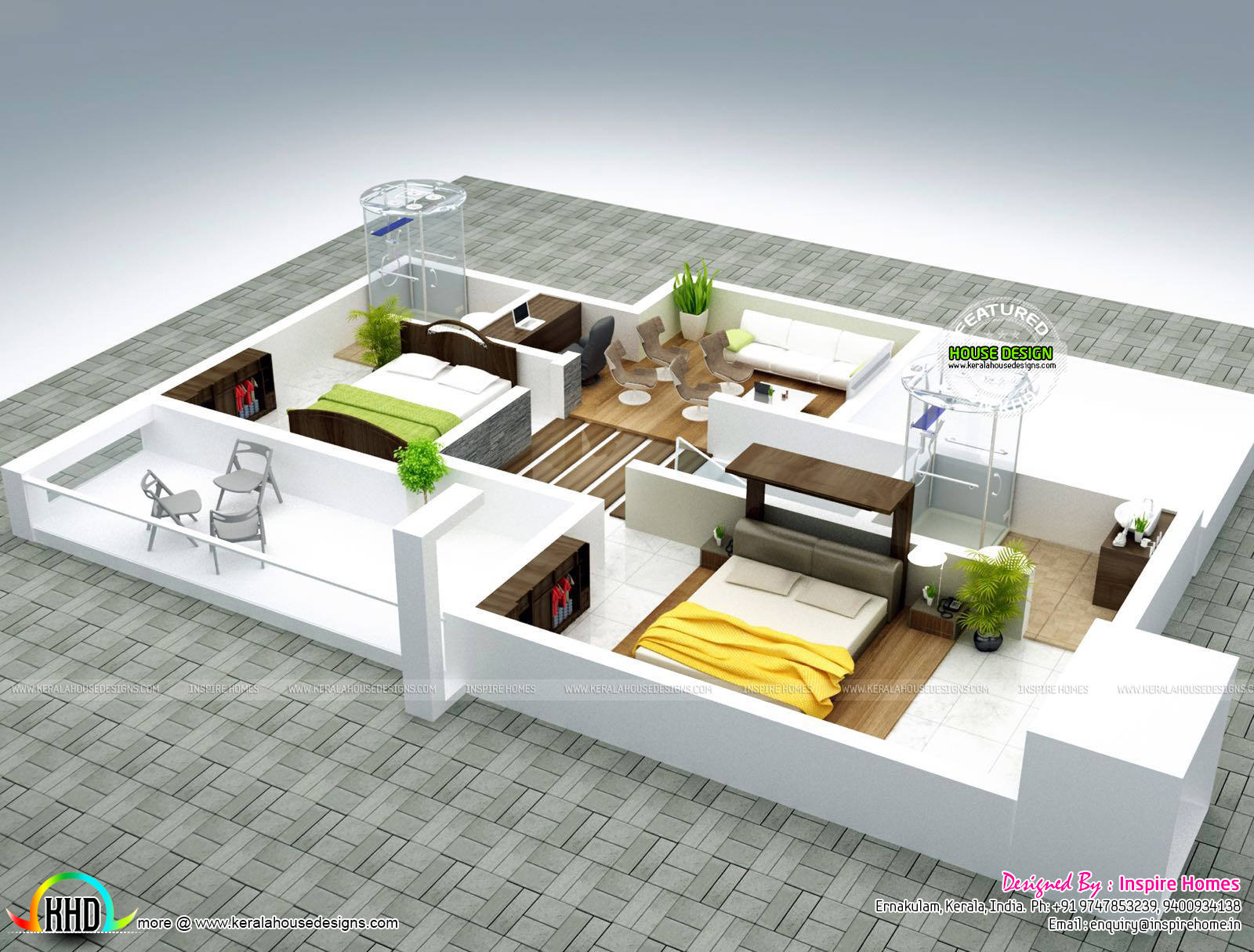 2172 kerala house with 3d view and plan - Contemporary Home With Isometric Interiors Kerala Home
