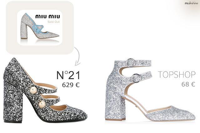 Clones moda - zapatos glitter Miu Miu