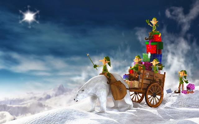 oso polar,duendes de navidad,regalos de navidad