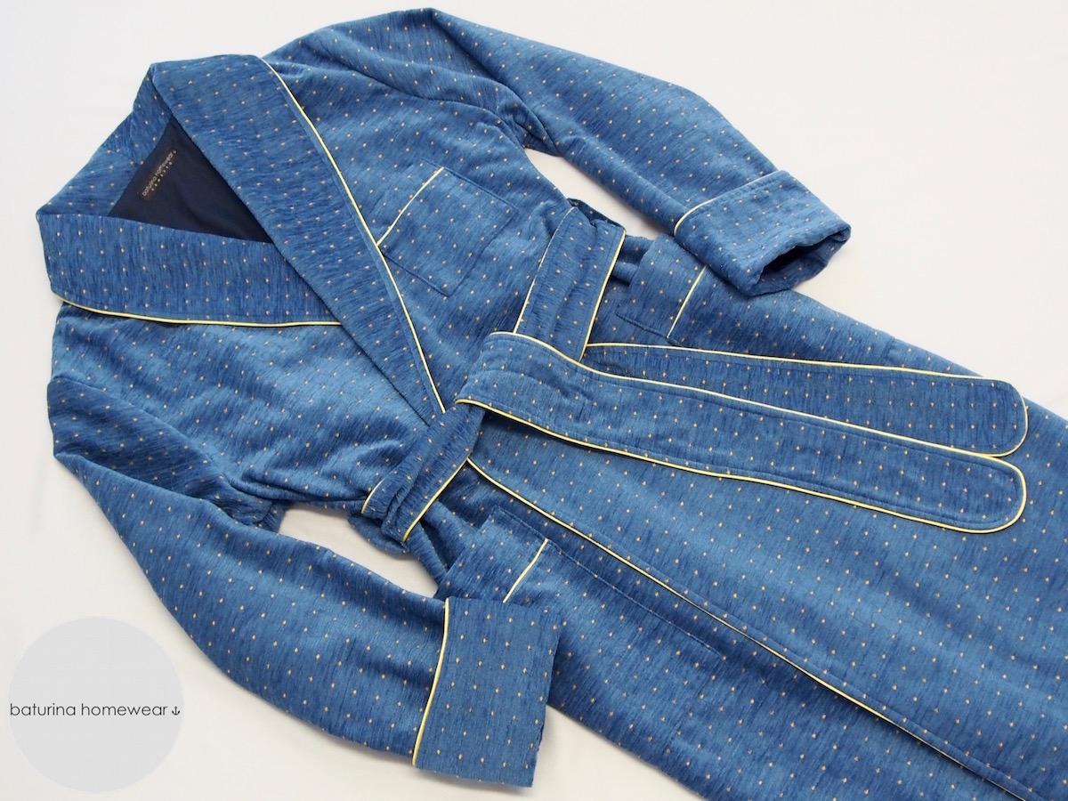 Long Warm Blue Cotton Velvet Men\'s Luxury Dressing Gown