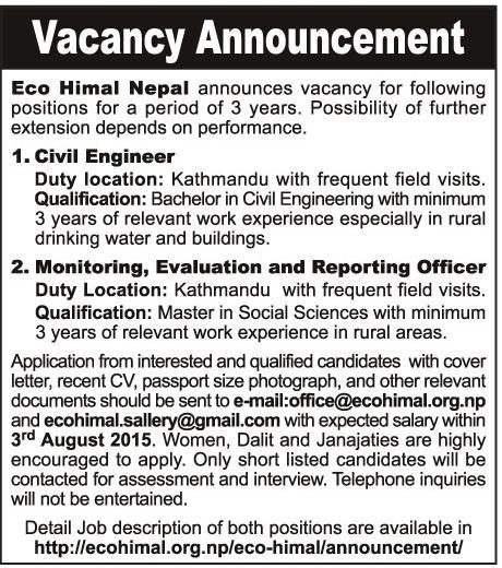 Civil Engineer Job Vacancy Eco Himal Nepal Engineerको घर