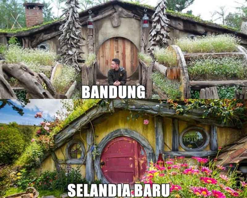 rumah hobbit bandung vs selandia baru